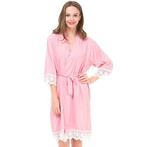 Damen Kimono Bademantel aus Baumwolle für Braut und Brautjungfer mit Spitzenbesatz mit Gold Glitzer Rücken - Pink - Medium/8-12 US