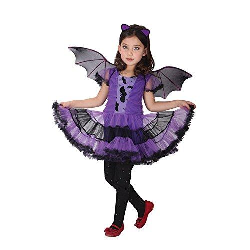 JT-Amigo Costume da Vampira Pipistrello, Bambina e Ragazza, Travestimenti Halloween Carnevale, 4-5 Anni