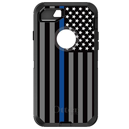 DistinctInk Case for iPhone 7 Plus / 8 Plus - Replacement for OtterBox Defender Black Custom Case - Thin Blue Line US Flag Law Enforcement - Show Your Support for First Responders