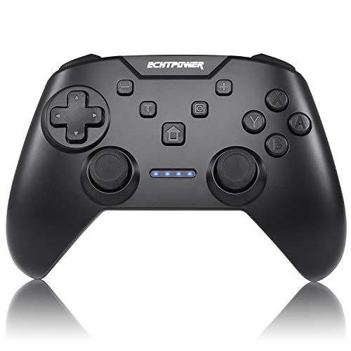ECHTPower Mando para Nintndo Switch, Mando Pro Switch Inalámbrico con Vibración Ajustable/Turbo/Giroscopio/Doble Motores/Barería de 600mAh, Controlador Ergonómico para Nintendo Switch