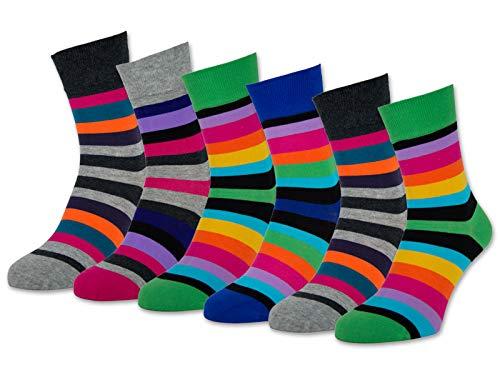 6 oder 12 Paar Damen Socken Ringel Bunt Baumwolle Komfortbund ohne Naht - 11979 (35-38, 6 Paar | Farbmix)