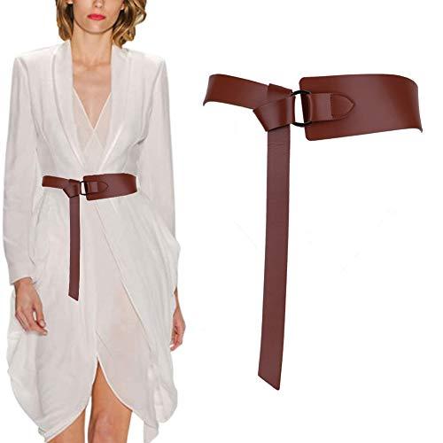 Longwu Cinturones de vestir con cinturón de cuero genuino de piel de vaca para mujer, cinturones de cintura con lazo de nudo para mono de abrigo de jeans