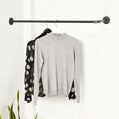 Various kledingstang in L-vorm industrieel design - diverse Maten, bijv. 100 x 30 cm - wandkapstok rond de hoek - zwart, metaal, stabiel