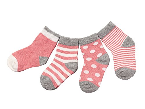 DEBAIJIA 4 Pares Bebé Calcetines Algodón 12-36 Meses Respirable Calcetin Para Niños Niñas Cómodo Absorber el Sudor Suelta Plana Rosa
