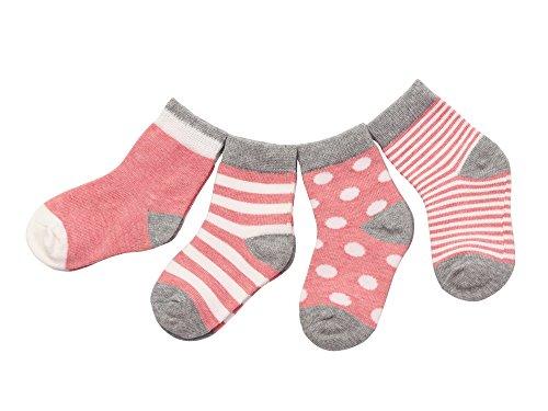 DEBAIJIA 4 Pares Bebé Calcetines Algodón 0-6 Meses Respirable Calcetin Para Niños Niñas Cómodo Absorber el Sudor Suelta Plana Rosa