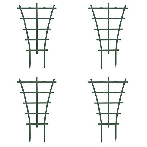 Fittoway Mini Pflanzenstütze DIY Garten Rankhilfe für Kletterpflanzen Überlagert Pflanzenklettergitter Kunststoff-Pflanzen-Spalier und Reben Topfpflanzenstütze Pflanzenunterstützung (4 Stück)