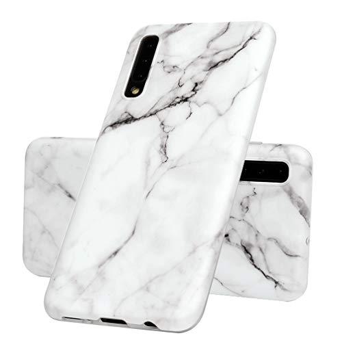 Vogu'SaNa Kompatible für Handyhülle Samsung Galaxy A50 Hülle Silikon Matt Marmor Muster Case Cover Marble Tasche Dünn Schutzhülle Handytasche Skin Softcase Schale Bumper TPU Handycover-Weiß Grau