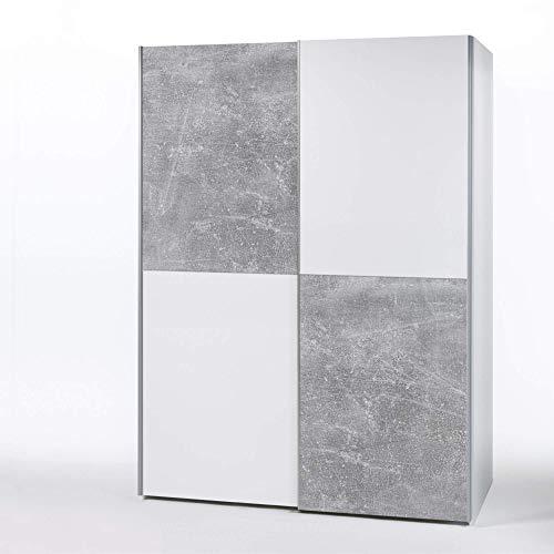 PULS Eleganter Kleiderschrank mit viel Stauraum - Vielseitiger Schwebetürenschrank in Weiß, Schachbrett Beton - 170 x 195 x 58 cm (B/H/T)