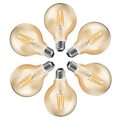 MENTA Bombilla Globo Filamento G80 E27 4W equivalente a 40 W 400LM Blanco Cálido 2700K Antigua Lámpara Bulbo Filamento No regulable 6 Unidades