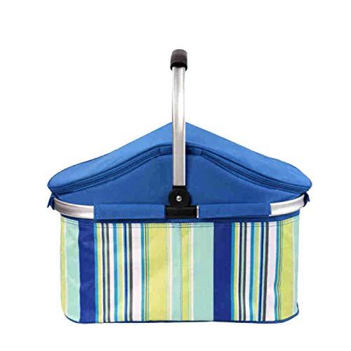 FBKPHSS Faltbar Picknickrucksack, Wasserdicht Kühlbox mit Aluminium 32L Picknickrucksäcke mit Kühltasche Isolierung und Kühlung für Picknick Camping,Blau,32 L