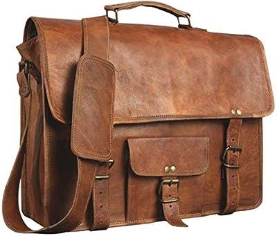 Sacoche pour ordinateur portable | Sac en cuir pour homme et femme | Porte-documents pour homme | Une sacoche parfaite peut être utilisée pour l'école et le travail (27,9 x 38,1 cm)