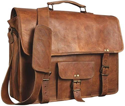 Laptoptasche aus Leder | Messenger aus Leder für Damen und Herren | Aktentasche für Herren | Ein perfekter Ranzen für Schule und Arbeit (12 x 17 Zoll)