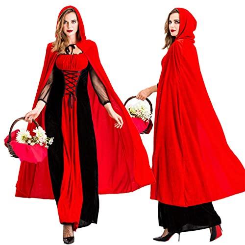 LXQLLJJD Disfraz De Caperucita Roja para Mujer con Capa, Cintura Suave, Vestido Elegante para Adultos, Vestido Largo De Encaje Sexy para Halloween, Despedida De Soltera Y Cosplay,L
