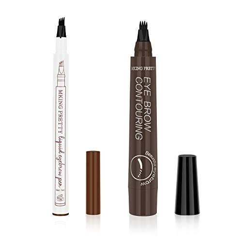 Ainviata 2pcs Waterproof Liquid Eyebrow Pencil w/Micro-Fork Tip Applicators, Microblading Eyebrow Pen Brown Eyebrow Tattoo Pen Creates Natural Makeup