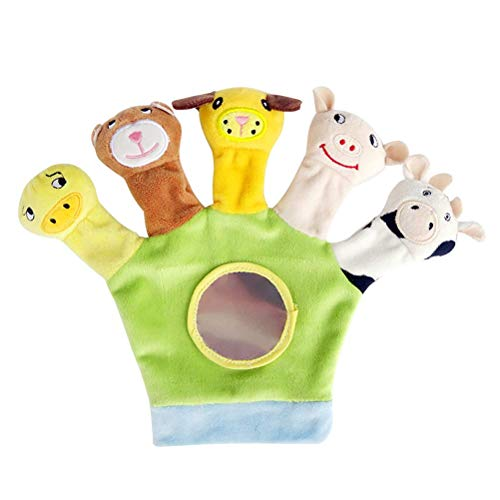Guante de marioneta de dedo animal Guantes de felpa suave Baby Story Time Puppet Toy (verde) JXNB