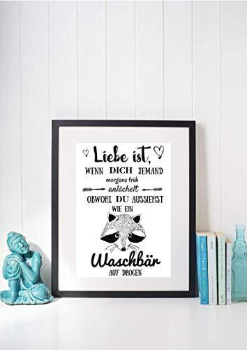 Kunstdruck Din A4 ungerahmt Spruch - Liebe ist - Waschbär auf Drogen, Lustig, Lachen, Motivation, Druck, Poster, Bild