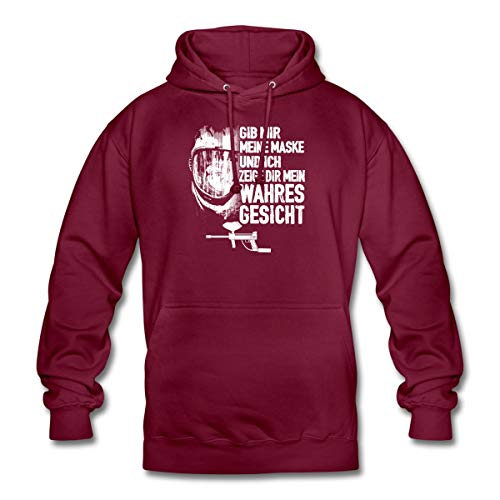 Spreadshirt Paintball Meine Maske Mein Wahres Gesicht Statement Unisex Hoodie, L, Bordeaux