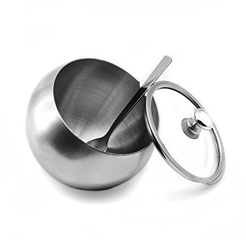 Stainless Steel Sugar Bowl, YOCZOX Small Sugar Bowl with Glass Oblique Opening Lid and Sugar Spoon for Home, Kitchen, Hotel and Cafes, 300 ML (10.5 OZ/ 1.25 Cup)