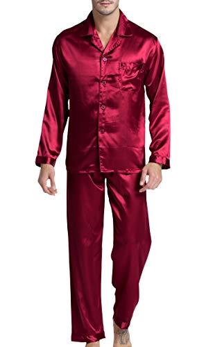 Men's Satin Pajamas Long Button-Down Pj Set Sleepwear Loungewear (Wine Red, L)