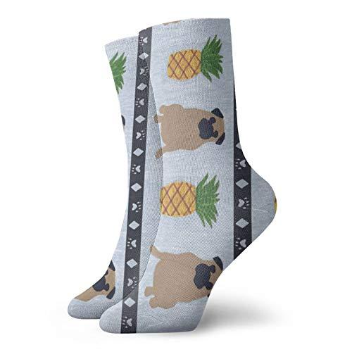 Primitive Pug And Piineapple - Calcetines deportivos personalizados, 30 cm de largo, para todas las estaciones