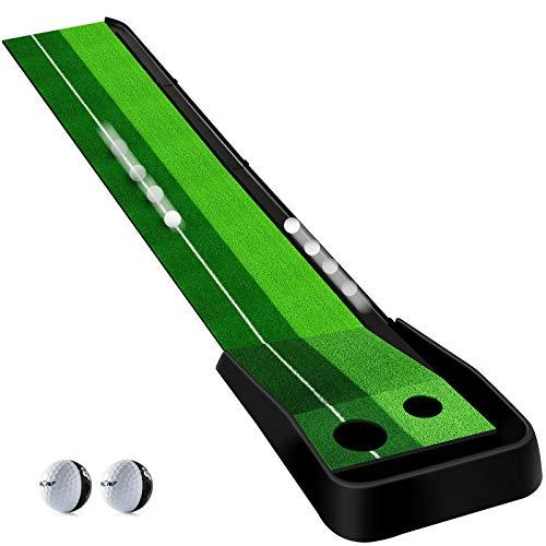 Golf Putting Green Alfombrilla Entrenamiento Función de Retorno Automático de la Bola Alfombrillas para Campo de Prácticas de Entrenamiento de Prácticapara Interior y Exterior 2 Bolas Gratis