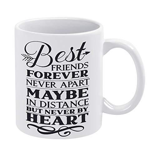 Taza de café de cerámica divertida con texto en inglés «Best Friends Forever Never Apar», de 11 onzas.