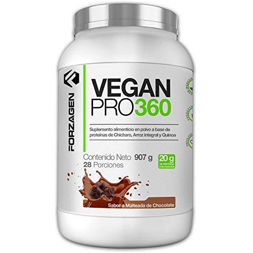 Forzagen Proteina Vegana, Vegetal, Importada, 100% Natural en polvo Vegan Pro 360 Forzagen 2 lb Sabor Malteada de Chocolate Suplemento Gym