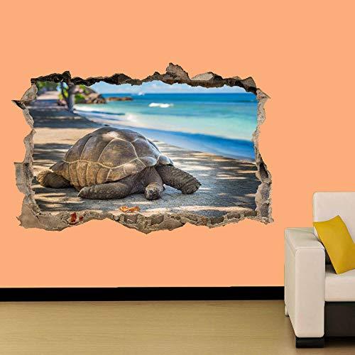 Tortuga en la playa Fondo Etiqueta de la pared Decoración de la habitación Calcomanía Mural Clase A 50x75cm
