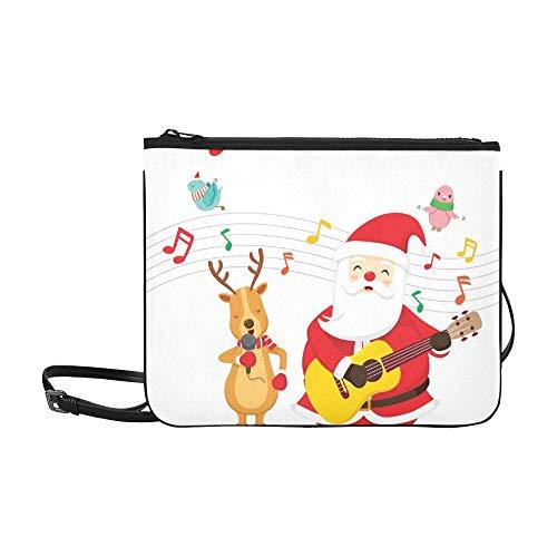 WYYWCY Rentier Weihnachtsmann singen Gitarre spielen Benutzerdefinierte hochwertige Nylon dünne Clutch Cross Body Bag Umhängetasche