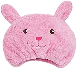 AUCH Adjustable Plush Cute Animal Baby Hair Drying Hat Super Absorbent Towel Adjustable Infant Shower Bath Cap for Kids Boys Girls from 1 to 12 Yrs, Pink Rabbit