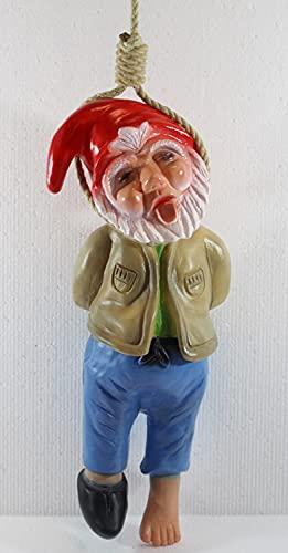 RAKSO Gartenzwerg Deko Garten Figur Zwerg erhängt mit Seil umschlingt Höhe 37 cm ohne Seil aus Kunststoff