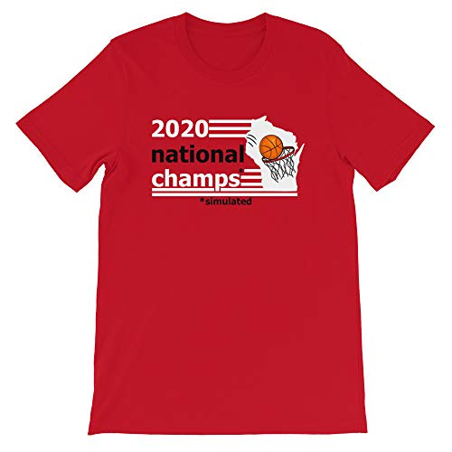 Wisconsin Badgers 2020 Nationals Champions Simulated March Madness T-Shirt (Medium) Red