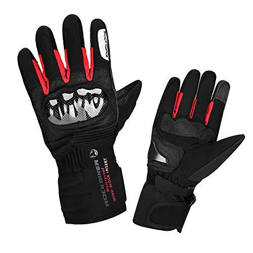 kemimoto Winter Motorcycle Gloves For Men Women, UTV ATV Motorbike Riding Carbon Fiber Gloves Hard Knuckle Touch Screen Windproof Water-Repellent Gauntlet Warm Anti-Slip Red Size XL