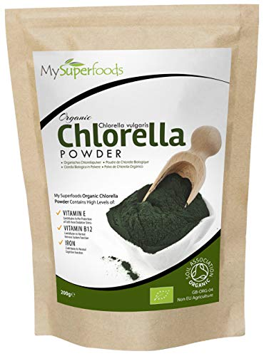 Polvo De Clorela De Pared Celular Rota Orgánica (200g), MySuperFoods, Increíble alto contenido de Clorofila, Repleto de nutrientes, certificado como producto orgánico, Saludable Alga comestible