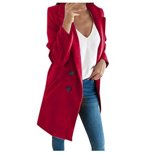 iHENGH Damen künstliche Wolle Elegante Mischungs Mantel dünne weibliche Lange Mantel Oberbekleidung Jacke(Rot-1, 5XL)