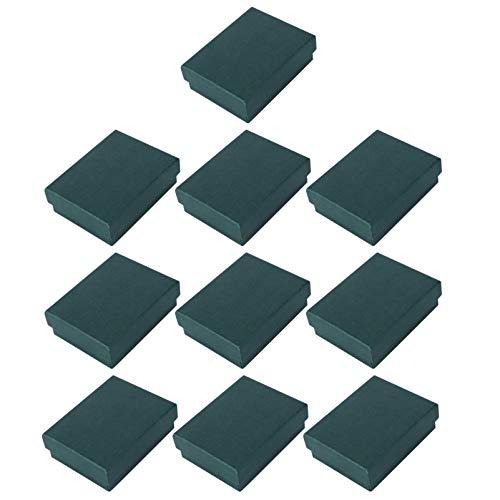 Cabilock 10 Stück Pappschmuckschatullen Papierschmuck Geschenkboxen Ringohrring Vitrine Veranstalter mit Schwammpolsterung für Anhänger Halskette Halsreif Ohrstecker Verpackung Grün
