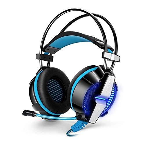 UNU_YAN Gaming Headset for Xbox PS4 Un PC, Casque Surround Basse avec Microphone antiparasite, LED Micro Casque léger for Ordinateur Portable (Color : Blue)