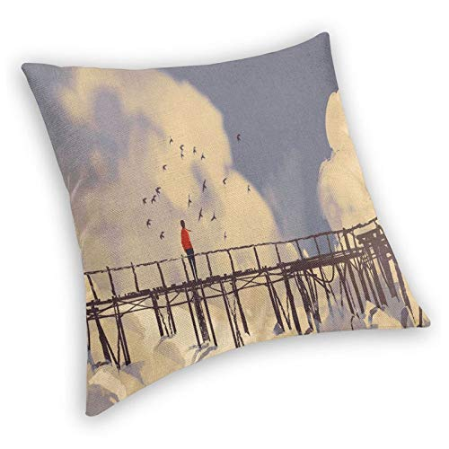DHNKW Retro Square Decorative Throw Pillow Cushion Cover,Man Standing On Unsafe Bridge Looking At Clouds Outdoor Depression Loneliness Art Print,18 X 18 Inches