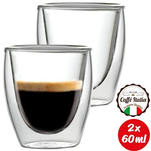 Caffé Italia Torino 2 x 60 ml Doppelwand-Thermo-Gläser - für Espresso Tee Heiß- und Kaltgetränke - spülmaschinengeeignet