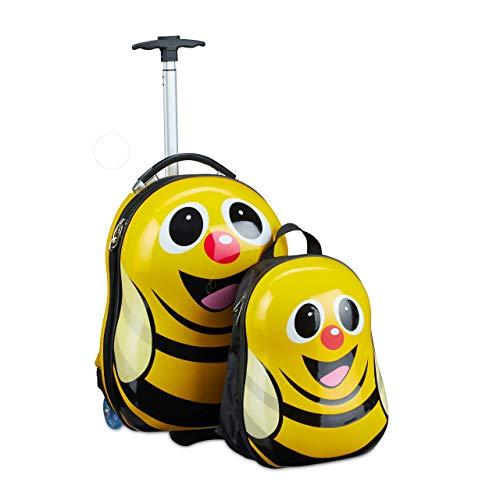 Relaxdays Maleta infantil con mochila, diseño de abeja, para niñas y niños, rígida, set de viaje para niños, 46 x 30 x 25 cm, color amarillo