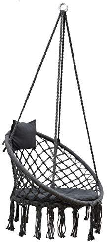 AMANKA Makramee Hängesessel mit Kissen 80cm Korbschaukel bis 120kg Boho Sessel Indoor Outdoor Grau