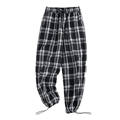 Legging para mujer, para hombre, tejido a cuadros con cuerda en el pie y mitad de WAIS para vacaciones de verano