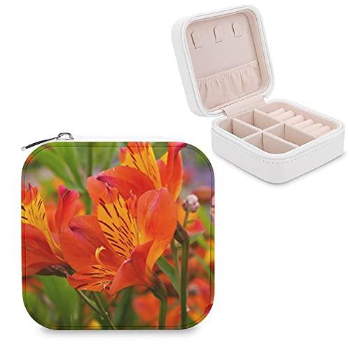 Alstroemeria - Joyero de lirio peruano de color naranja, caja de joyería pequeña para joyas, pendientes, collar organizador de piel sintética para mujeres y niñas