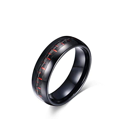 Daeou Open Ring 8MM rood + zwart carbon carbide ring plating anti-allergie ring stuur familie vriend