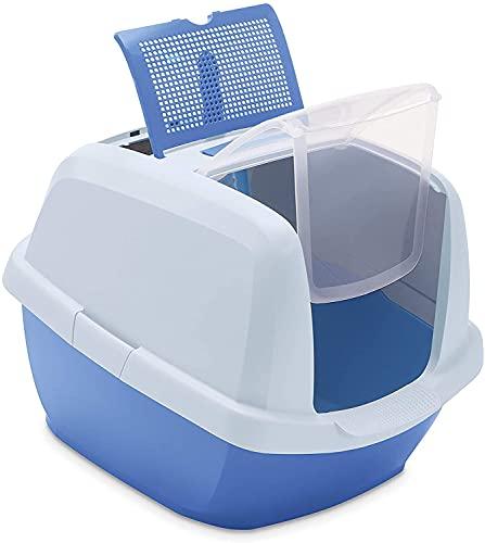 LoveYourPet Toilette Lettiera Gatto Chiusa con Filtro ai Carboni Attivi, Made in Italy, Paletta Omaggio Inclusa, 52 x 45 x 40 cm, Color Blu