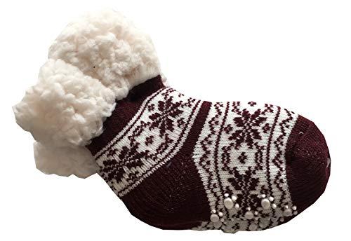 RUINUR panty voor meisjes, antislip, warmte-isolerende pantoffel, zacht met voering van imitatiebont schapenwol - bont patroon
