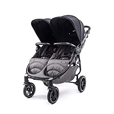 Silla Gemelar Easy Twin 4 Chasis Negro Baby Monsters Plástico de Lluvia y Barras Frontales incluidas Color Negro