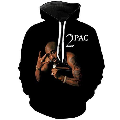 Hip Hop Rap 2Pac Hoodie Herren- Und Damen-Sweatshirt Tupac Hooded Sweater Lässige Loose Street T-Shirt-Kleidung