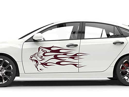 GRAZDesign Autoaufkleber Seitenaufkleber, Löwe Tribal, Auto Tattoo Aufkleber, Löwenkopf / 2St. je 65x28cm / 070 schwarz
