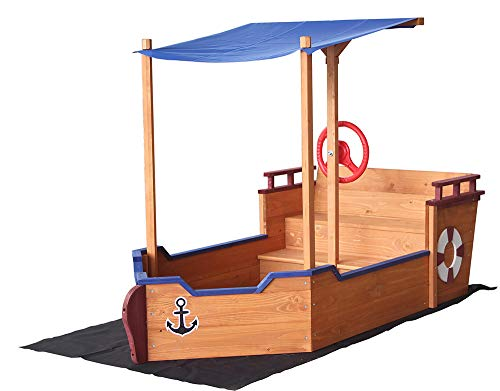 Home Deluxe - Sandkasten Matschekiste - Segelschiff inkl. Bodenplane - Maße: 160 x 78 x 103 cm - inkl. komplettem Montagematerial
